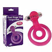 Anel Peniano Duplo p/ Pênis e Testículo com Vibrador em Jelly